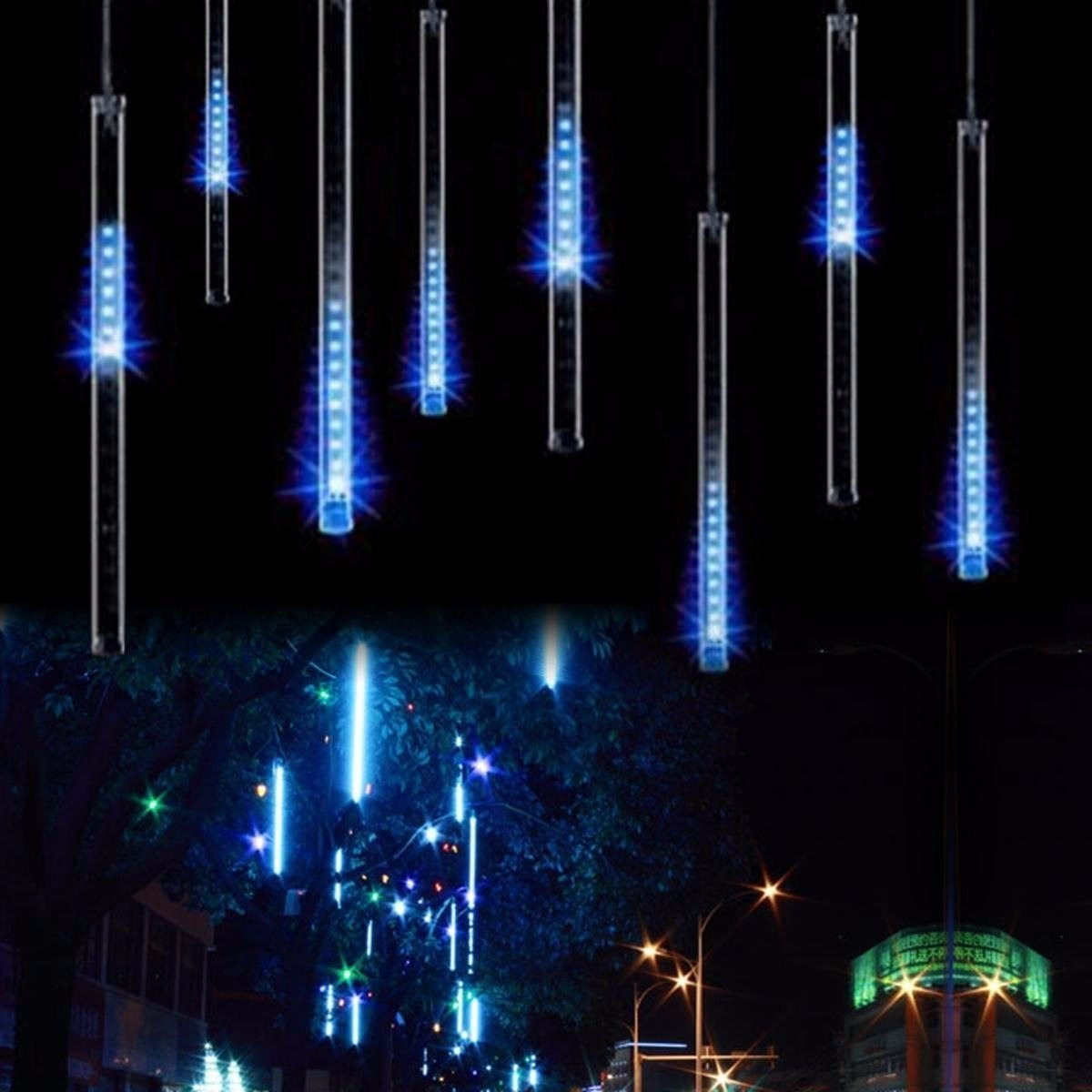 8 luces 30cm lluvia meteoros luces tubos decoracion - Decoracion luces navidad ...