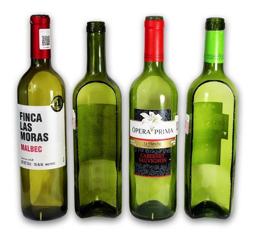 8 macetas de botella de vino *reciclaje* corte vertical