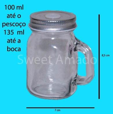 8 mini canequinha vidro mason jar 130ml lembrancinha