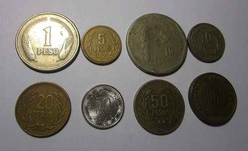 8 moneda colombia 1 5 10 20 50 1000 pesos antigua  lote c8