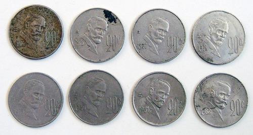 8 monedas mexicanas de colección de 20 centavos 1974-1982