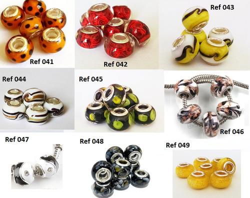 8 muranos charms berloques vidro miolo banho prata