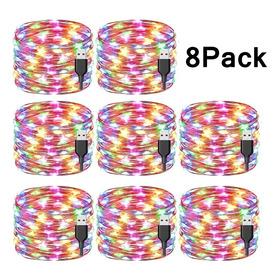 8 Paquetes De Luces Decorativas 20 M Luces Navideñas Led Tir