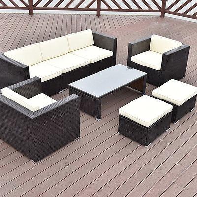 8 Pc Patio Al Aire Libre De La Rota Muebles Conjunto Sofá De ...