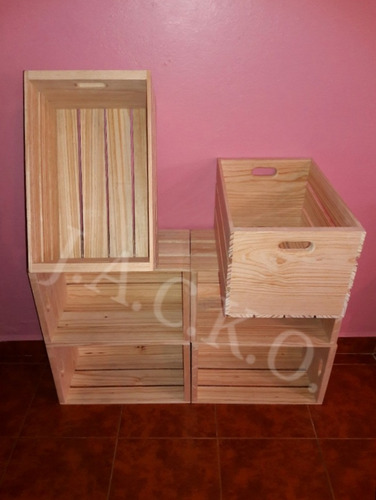 8 piezas huacales cajas de madera repisas librero decoración