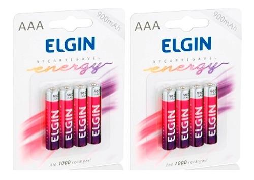 8 pilhas aaa 900 mah elgin rec. (palito 2 pacotes c/4)