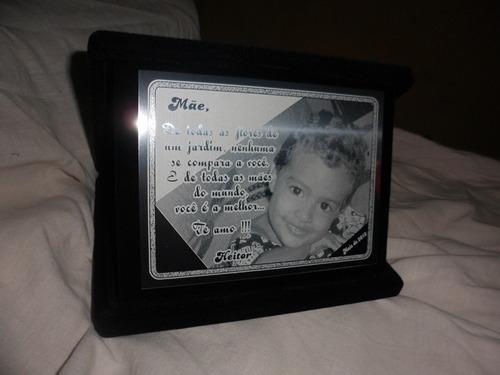 8 placa de homenagem em aço inox com estojo de veludo