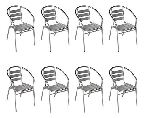 8 poltronas cadeira alumínio de jardim e áreas externas mor