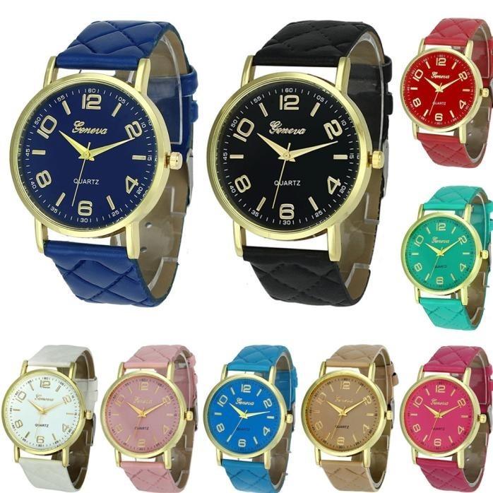 5b4a79ece64 8 Relógio Feminino Lindo Dourado Pulseira Geneva Barato - R  159