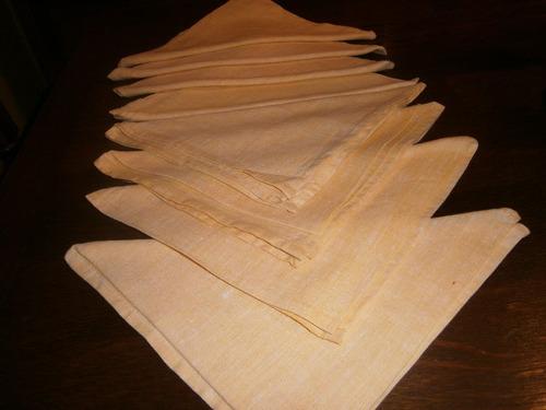8 servilletas de lino 100% ruso amarillas, 43cm x 43cm c/una