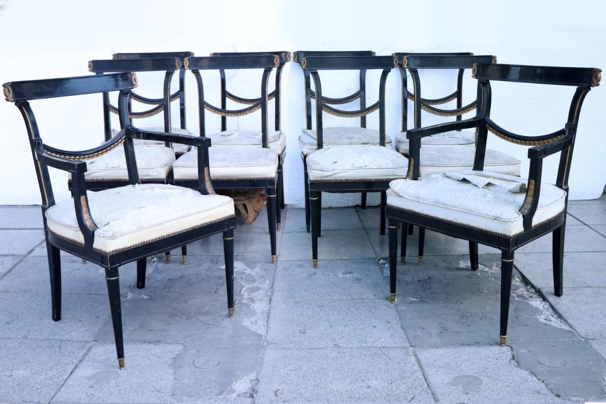 8 Sillas 2 Sillones Comedor Madera In - Antig La Rueda _ L R - $ 85.000,00