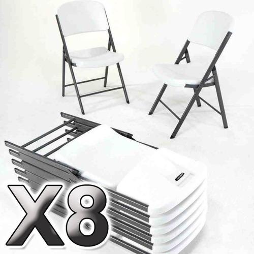8 sillas plegable resel de plastico y acero para exterior