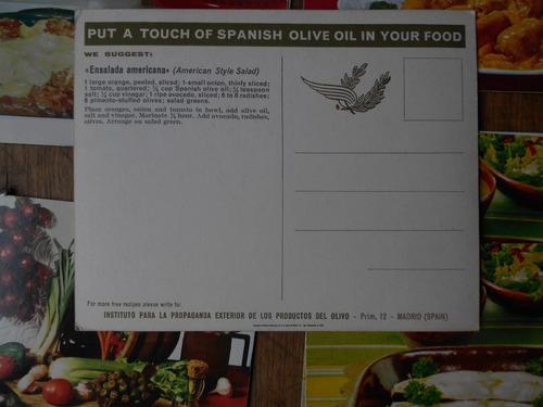 8 tarjetas de comida españa 1960