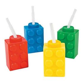 8 Vasos C/popote Bloques De Lego Fiesta Cumpleaños Colores