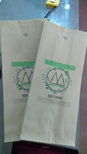 80 bolsas de papel kraft personalizadas impresas col 11x28