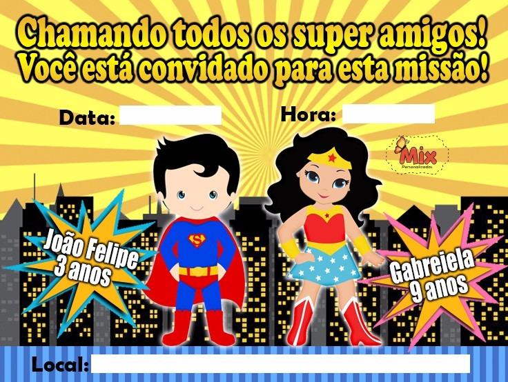 80 Convites Para Aniversario Super Homem E Mulher Maravilha R 120