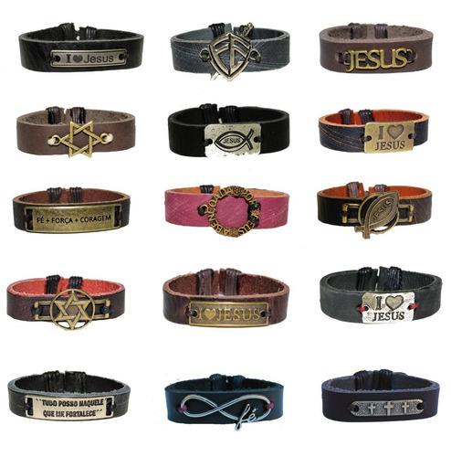 80 pulseiras couro fé deus é fiel jesus campanha brinde
