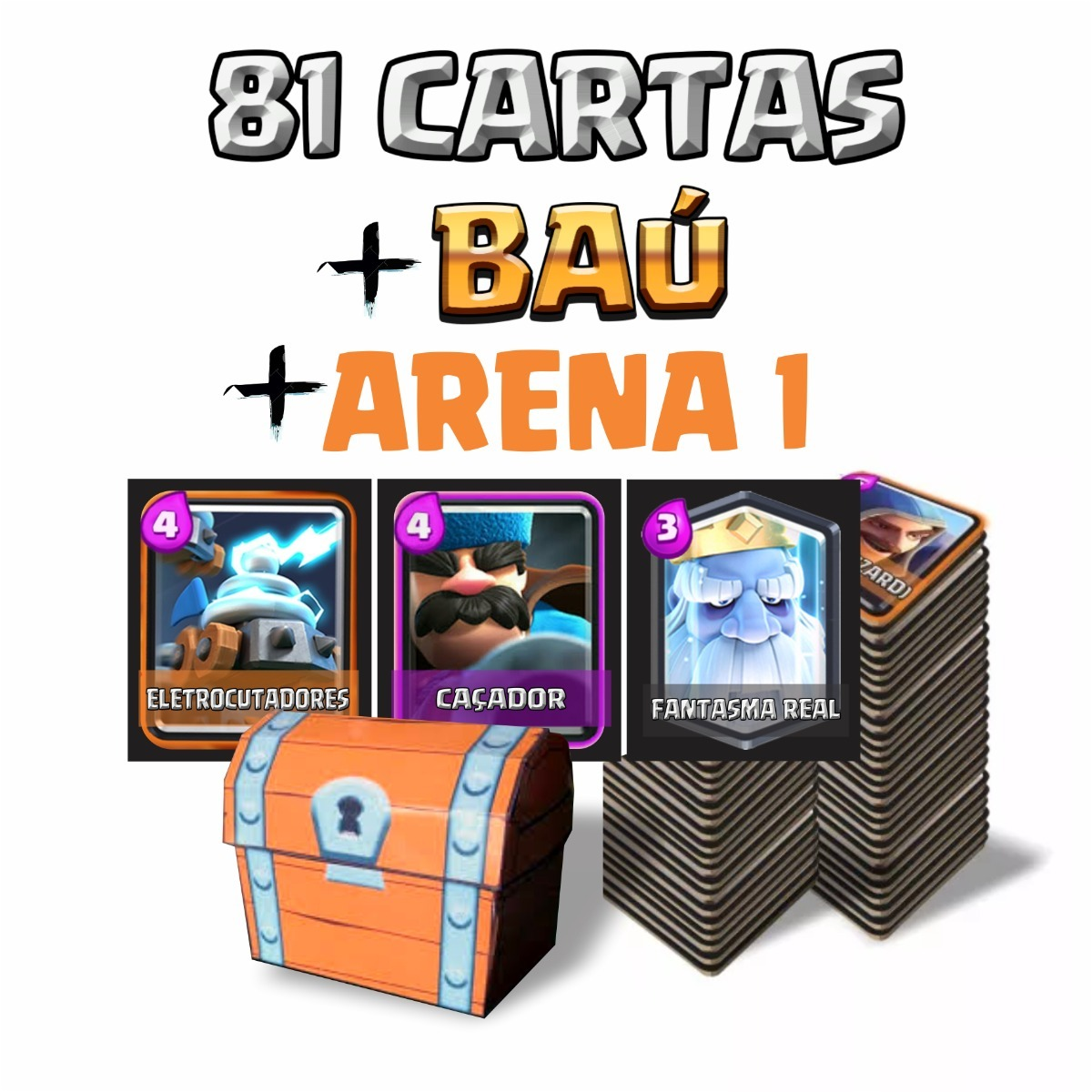 a4ab12f74 81 (3 Novas) Cartas Clash Royale + Baú + Arena1 Clash Royale - R  53 ...