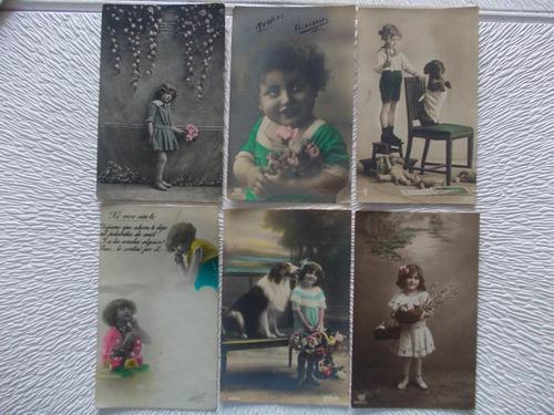 8234- lote 12 postales antiguas niñas/ niños