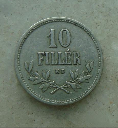 8328 - hungria 10 filler 1915, niquel 19mm - serrilha
