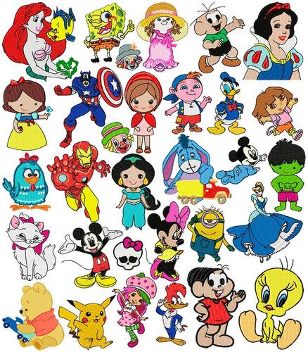 85 matrizes de bordados vários personagens p/ menino menina
