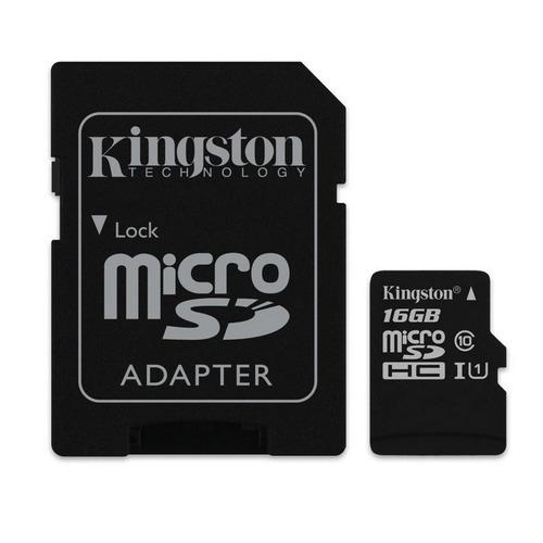 852413877 kingston microsd 16gb uhs-i with sd sob encomenda