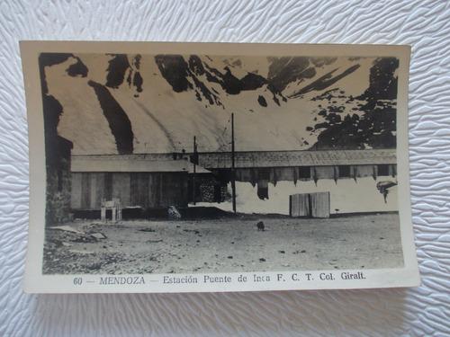 8637-antigua foto postal est.tren f. c. t pte. inca giralt