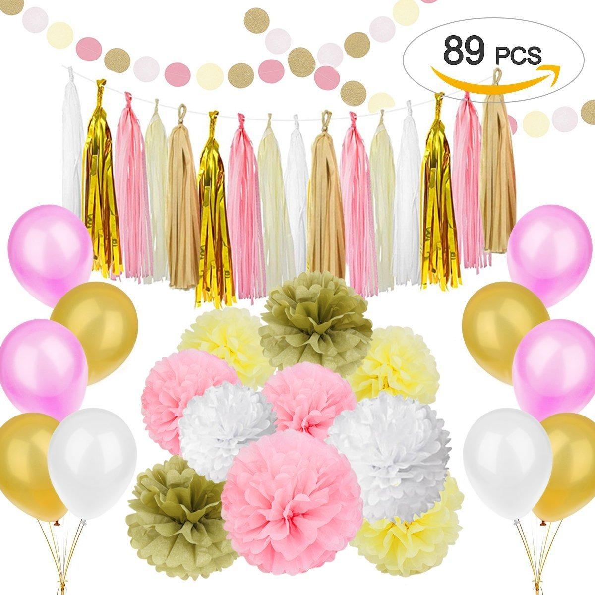89 piezas juego de decoraciones de fiesta rosa dorado - Decoracion de cumpleanos rosa y dorado ...