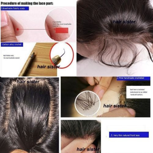 8a 1b pelo humano virginal indio cordón frontal pelucas pre