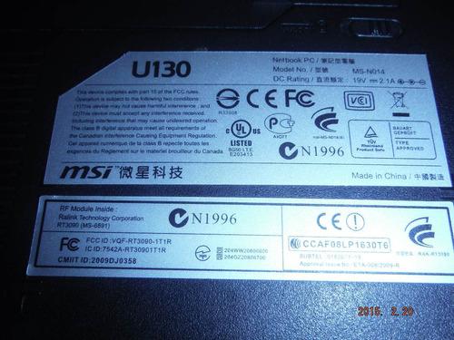 8aparts msi u130 netbook piezas