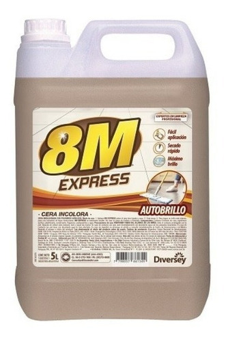 8m express cera autobrillo incolora bidon 5lts diversey