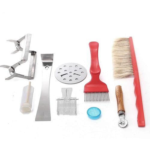 8pcs bee equipment brush uncapping fork queen catcher hive t