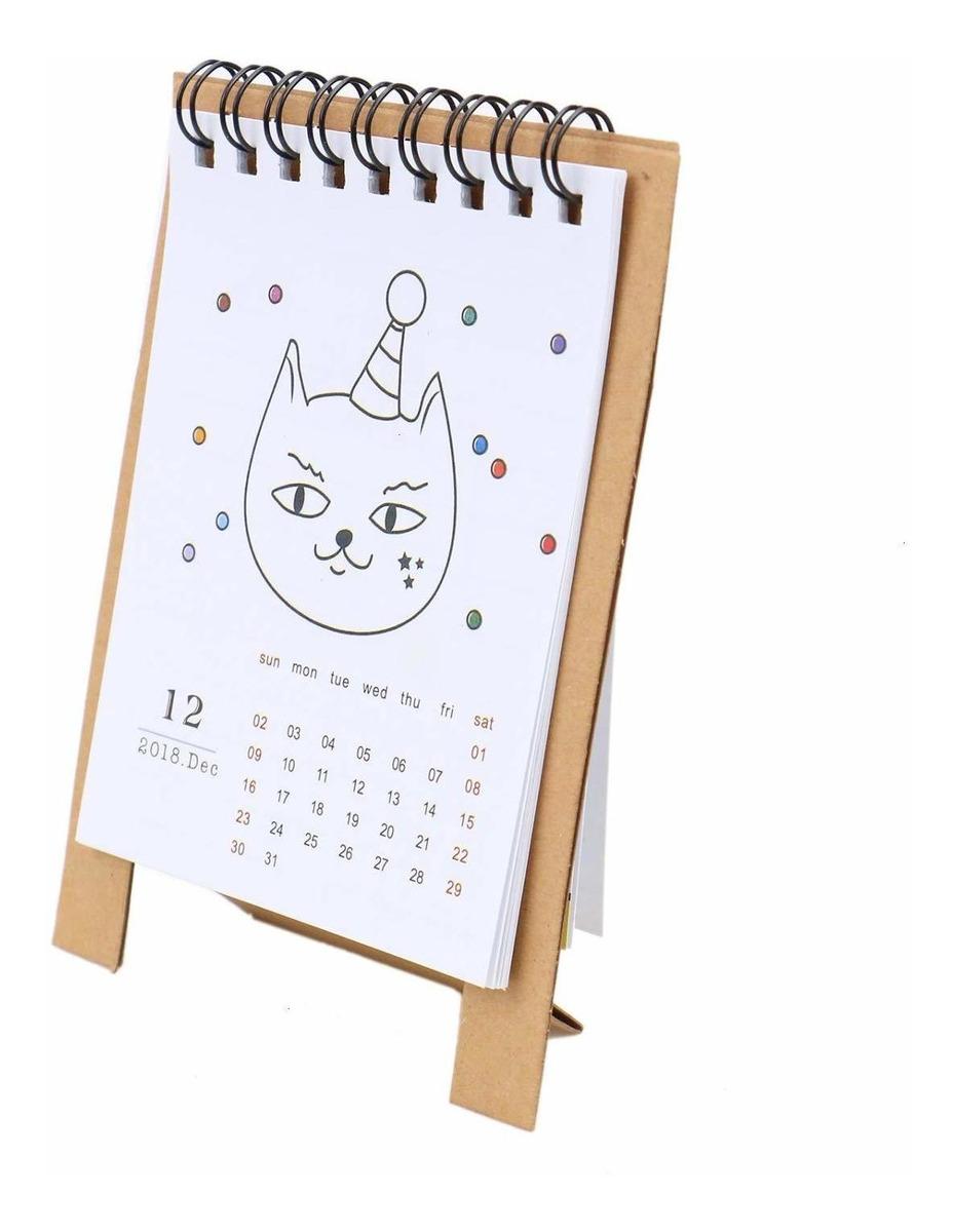 Calendario Dibujo 2019.8pcs Mini 2018 2019 Escritorio De Pie Calendario Dibujo