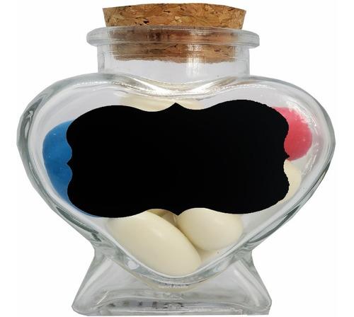 8pote coração vidro 80ml tampa rolha + 8 adesivos e 1 caneta