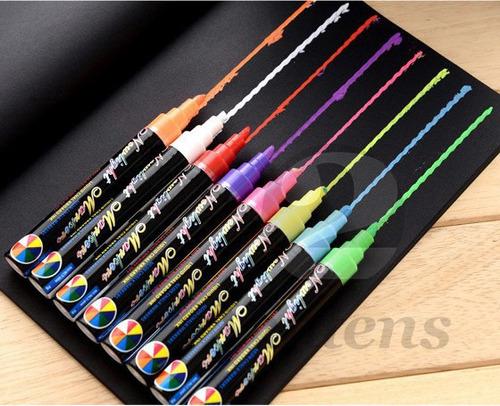 8x caneta neon para vidro / lousa led / vitrine / carro