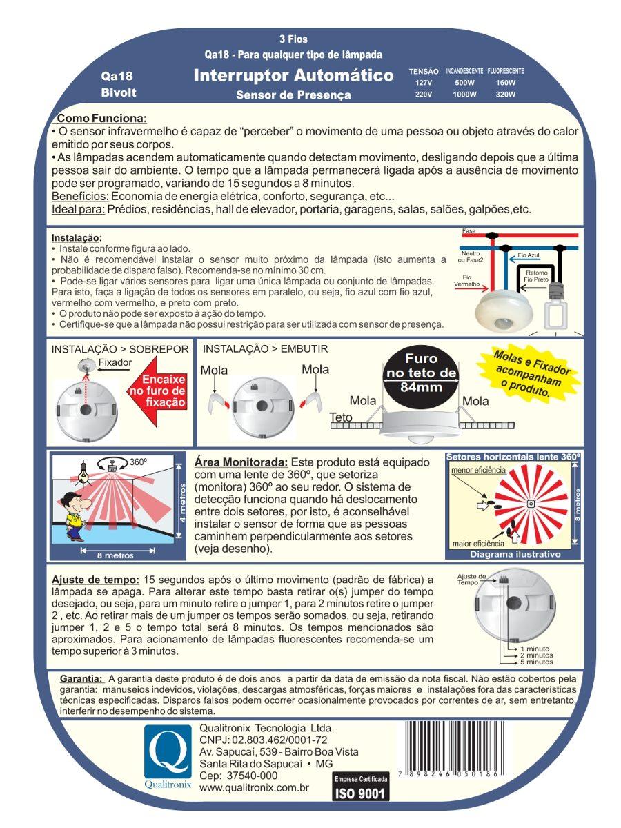 8x Sensor Presença Qualitronix Emb/sob Sem Fotocélula Qa18 - R ...