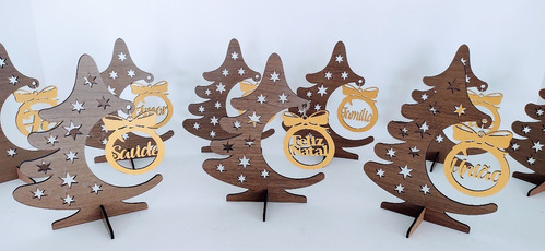 9 arvore de natal com pingente de frases em mdf - 20 cm