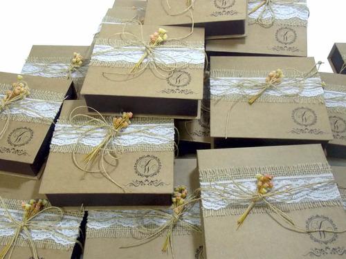 9  caixas convite  rústico  lembrança  padrinhos 17x17x4