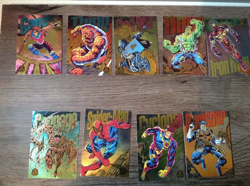 9 cards colecionáveis marvel 1994 - raros power blast