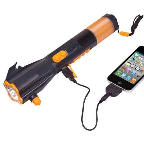 9 in 1 led hand-crank powered dynamo led flashlight w/ radio