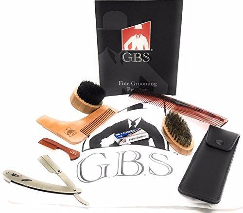 9 juego de barba gbs capa, plantilla, afeitadora, cepillos,