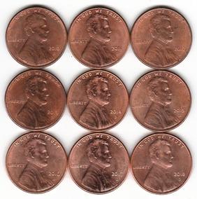 9 Moedas One Cent Dollar 2010 À 2018 Letra D - Lincoln - Usa