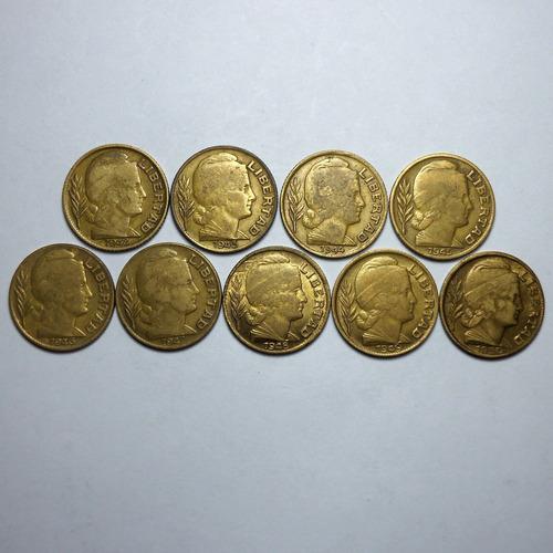 9 monedas de 20 centavos serie torito completa 1942/1950