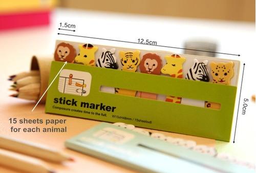 9 paquetes notitas marcadores sticky notes kawaii al azar