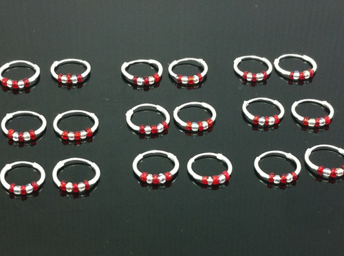 9 pares de arracadas mini de plata 925