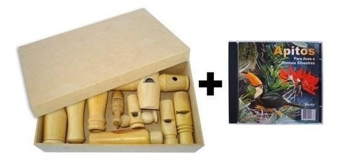 9 pios de madeira p/ aves e animais silvestres + cd dos sons