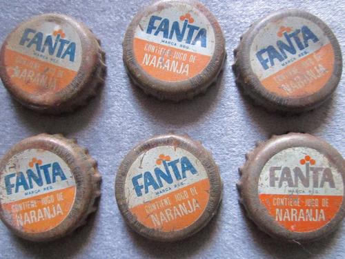 9 tapas de fanta naranja coca cola antiguas de los 80