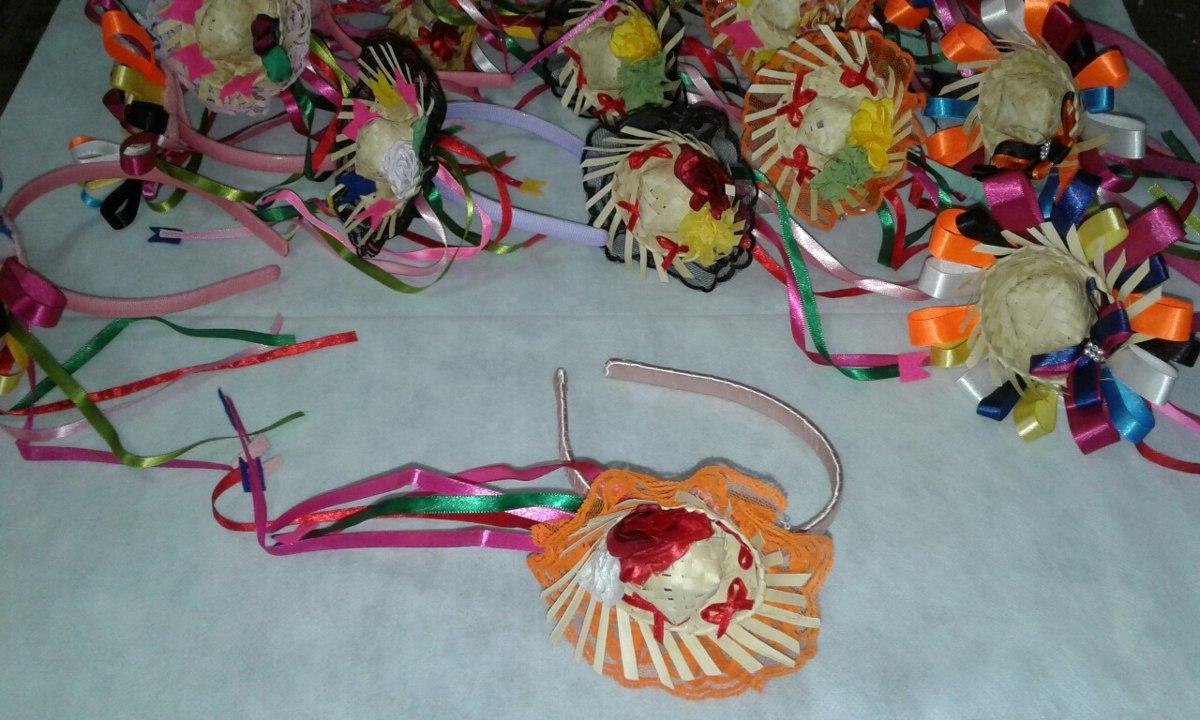 9 tiaras de cabelo festa caipira junina chapéu de palha mini. Carregando  zoom. e40d4e43284