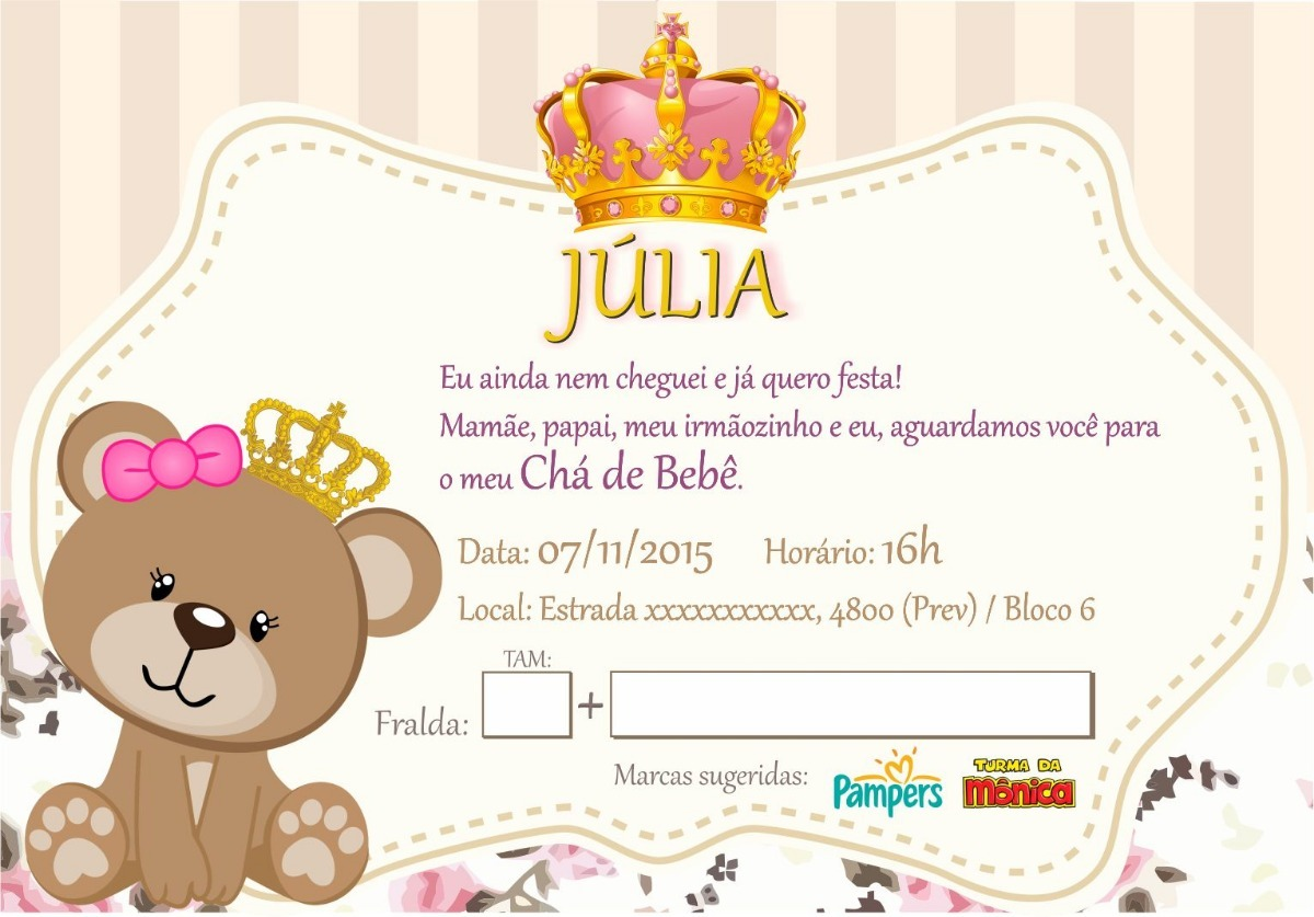 90 Convites Chá De Bebê Ursa Princesa R 4500 Em Mercado Livre