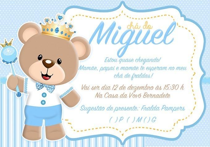 90 Convites Chá De Bebê Ursinho Coroa R 4500 Em Mercado Livre